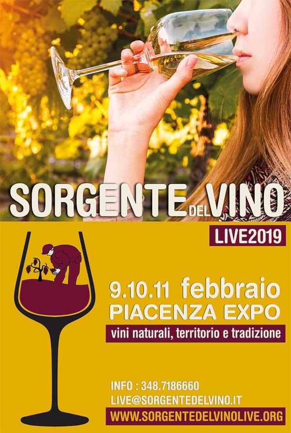 Sorgentedelvino LIVE 2019 a Piacenza Expo il 9.10.11 febbraio